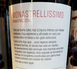 Sarcastic back label of Monastrellissimo, Jumilla 2014 Spanish red wine