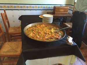 Valencian Paella presented before serving