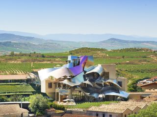 Panoramic view of Marques de Riscal winery building by Frank O. Gehry