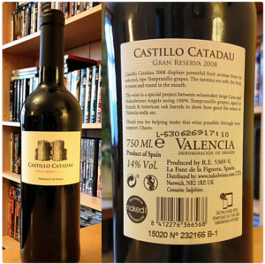 Naked Wines Castillo Catadau Gran Reserva 2008 by co-operative La Viña, bottle front and back labels
