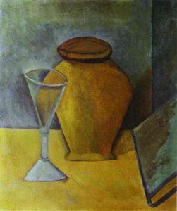 Pot, wine glass and book by Pablo Picasso. 1908. St.Petersburg. Hermitage Museum