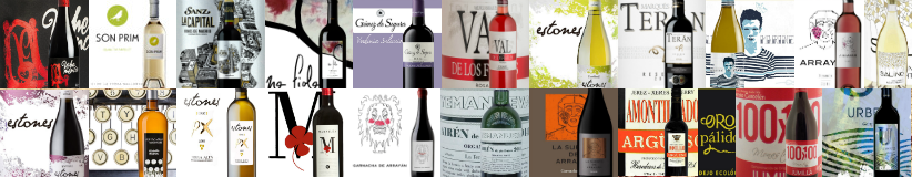 Colourful, collage-style array of wine labels and their corresponding bottles on top